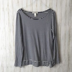 WHBM • Navy White Striped Long Slv Tee Blouse